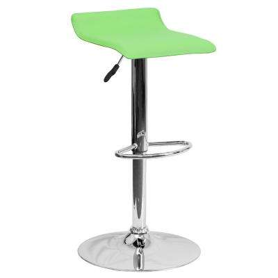 31.25 in. Adjustable Height Green Cushioned Bar Stool