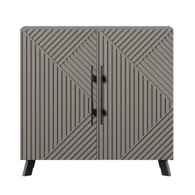 Black and Concrete Accent Cabinet