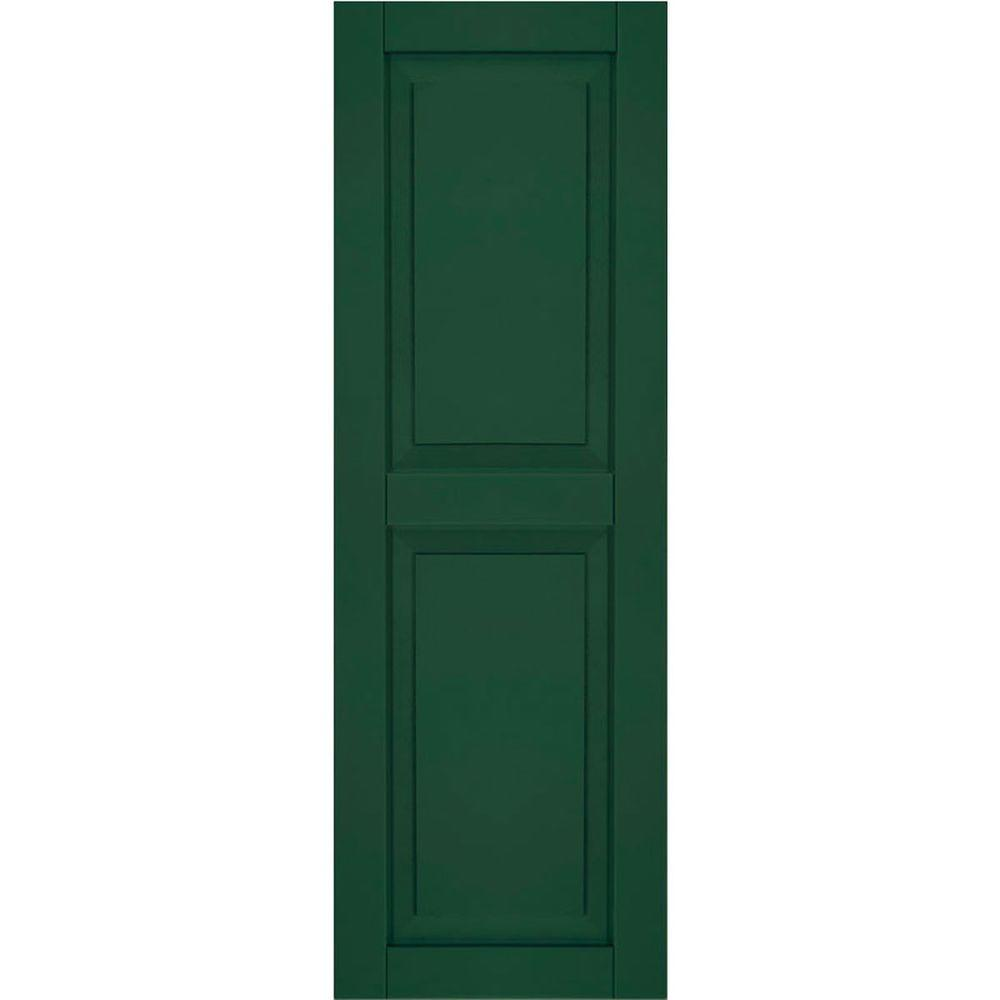 Ekena Millwork 12 in. x 43 in. Exterior Composite Wood Raised Panel Shutters Pair Chrome Green