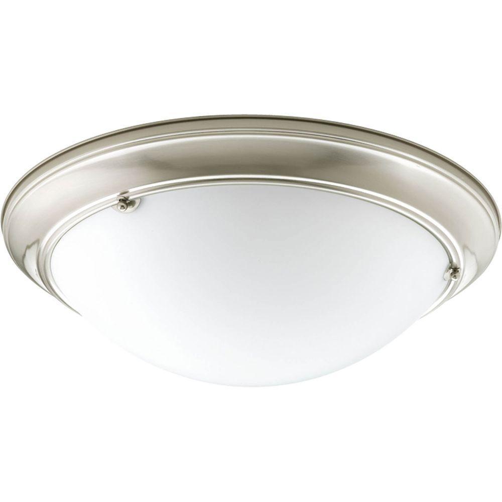 Eclipse 3-Light Brushed Nickel Flushmount with Satin White Glass