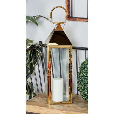 Gold Candle Lanterns with Handles (Set of 2)