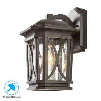 1-Light Bronze with Brass Highlights Outdoor 7 in. Wall Mount Lantern with Clear Seedy Glass