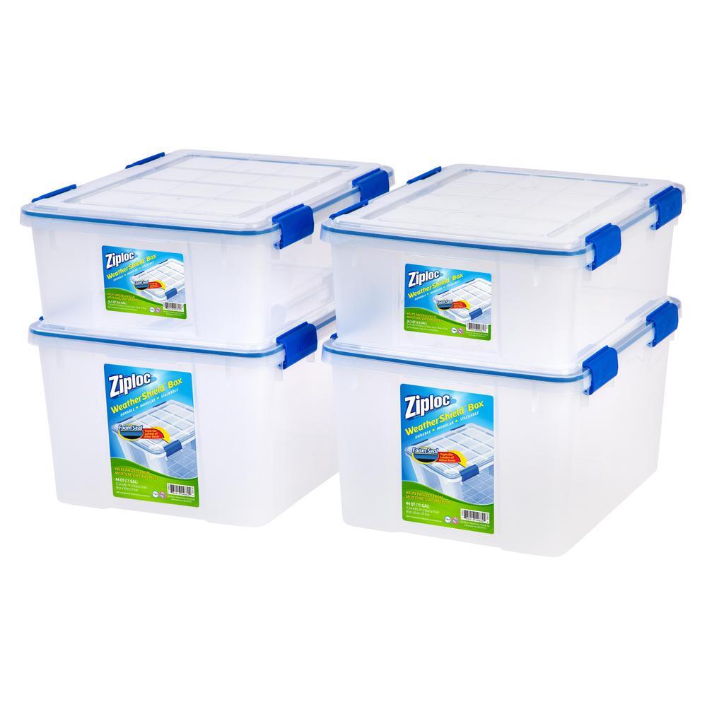 Beau IRIS 26.5 Qt. And 44 Qt. Set Ziploc Weather Shield Storage Box In Clear