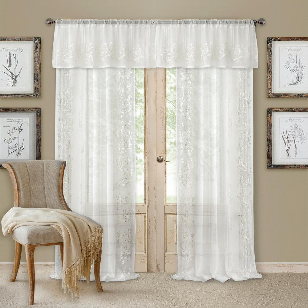 Sheer Addison 52 in. W x 84 in. L, Rod Pocket Sheer Single Panel Window Curtain Drape, White