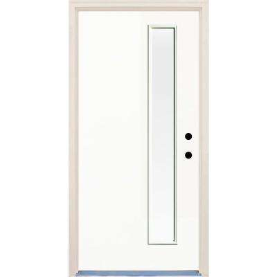 36 in. x 80 in. Classic 1 Lite Clear Glass Painted Fiberglass Prehung Front Door with Brickmould