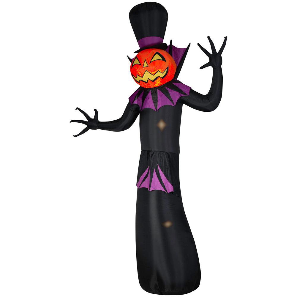 Home Accents Holiday 12 ft. Kaleidoscope Inflatable Pumpkin Reaper with Top Hat (RRPM) Projection Airblown