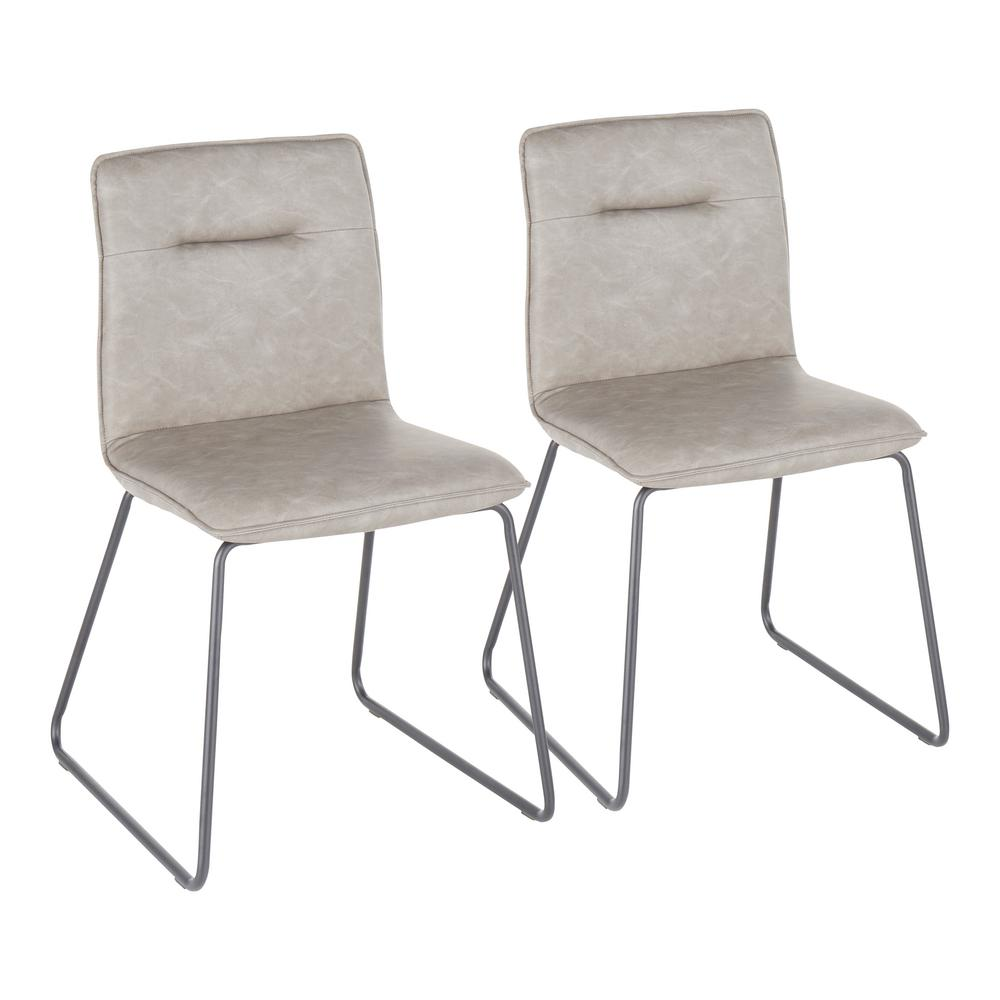 Casper Grey Faux Leather Industrial Dining Chair (Set of 2)