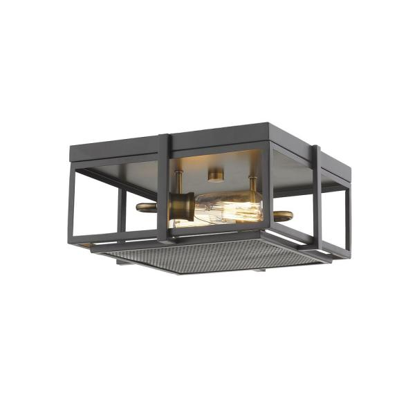 13.75 in. 2-Light Bronze and Heritage Brass Flush Mount