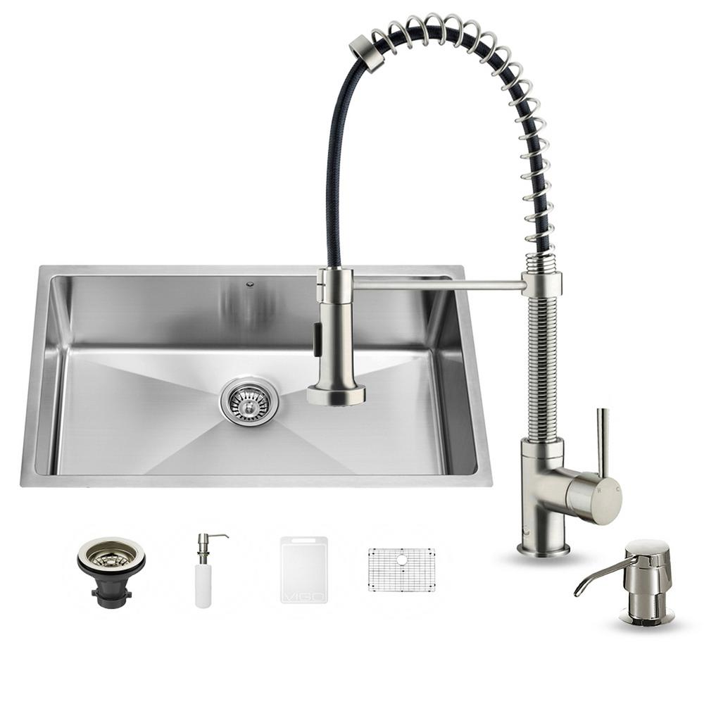 VIGO All-in-One Undermount Stainless Steel 32 in. 0-Hole Single Bowl Kitchen Sink and Faucet Set in Stainless Steel