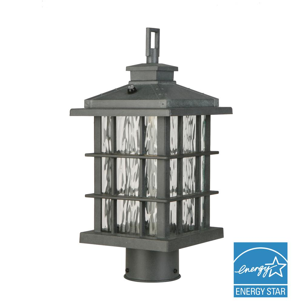 Wrought iron post lighting outdoor lighting the home depot summit ridge collection zinc outdoor integrated led post light aloadofball