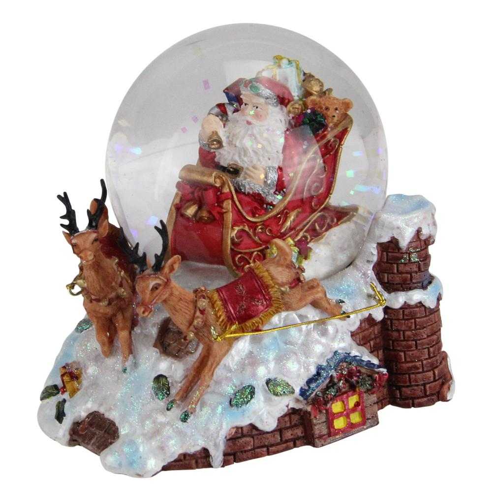 Northlight 5.5 in. Christmas Santa Claus on Sleigh with Reindeer Musical Snow Globe Glitterdome Up in the housetop listen to Santa and his reindeer as they land ready to slide down the chimney and deliver all those toys. Christmas is a magical time for all who believe. Globe interior features Santa Claus in his red and gold sleigh filled with gifts ringing a bell. Base features 2 reindeer guiding Santa's sleigh over a snow covered roof top. Winds up and plays in. Here Comes Santa Claus. Recommended for indoor use. Dimensions: 5.5 in. H x 4.5 in. W x 5.25 in. D and Material(s): glass/resin.