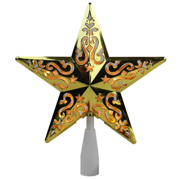 8.5 in. Gold Star Cut-Out Design Christmas Tree Topper - Clear Lights