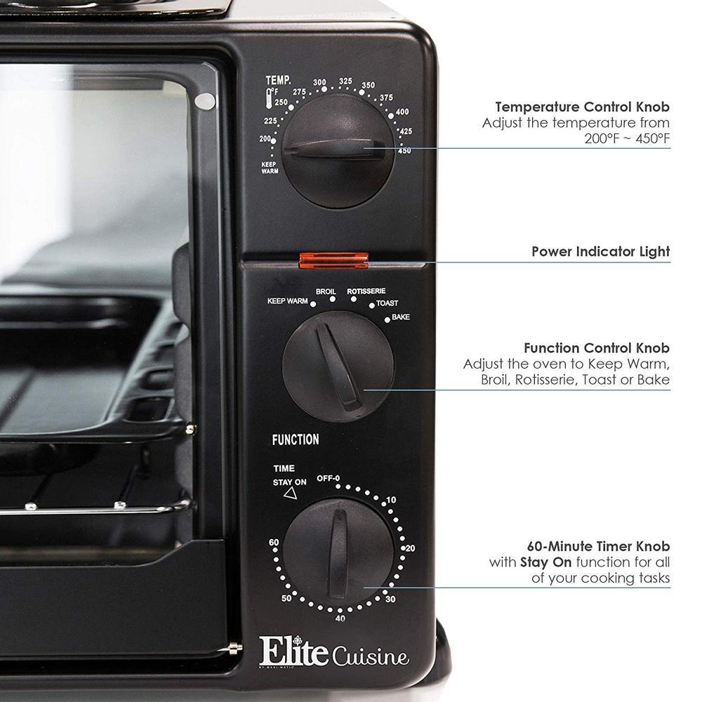 Elite Platinum 1500 W 6-Slice Black Toaster Oven with