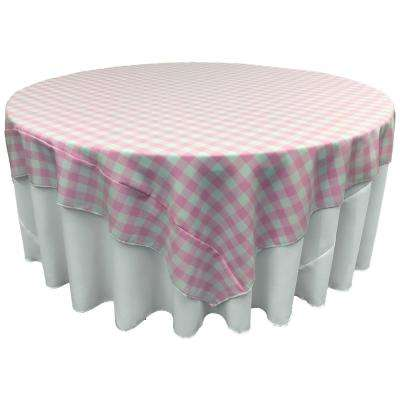 """""""90 in. x 90 in. White and Pink Polyester Gingham Checkered Square Tablecloth"""""""