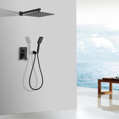 3-Spray with 2.5 GPM 10 in. 2 Functions Wall Mount Dual Shower Heads in Spot in Matte Black (Valve Included)