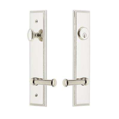 Carre' Tall Plate 2-3/8 in. Backset Polished Nickel Door Handleset with Georgetown Door Lever