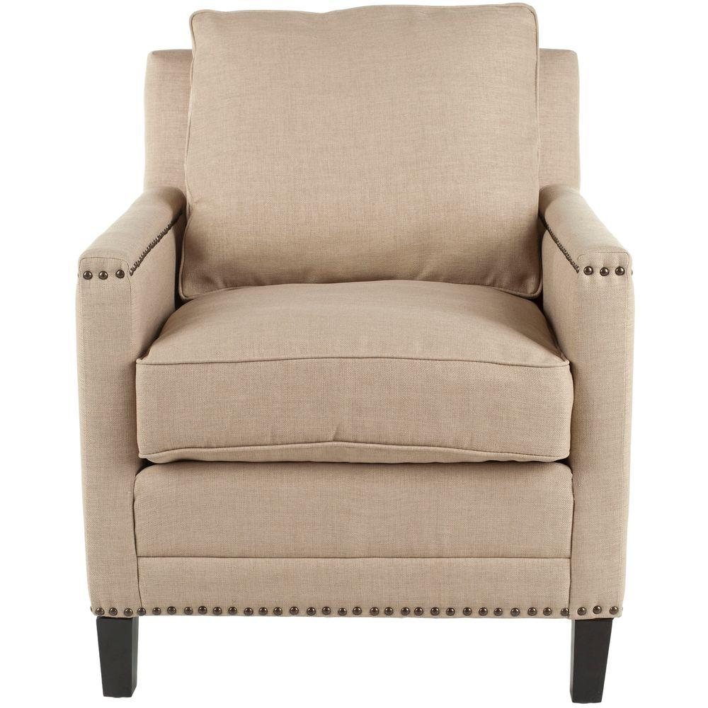 Buckler Wheat Beige/Espresso Linen-Poly Upholstered Arm Chair