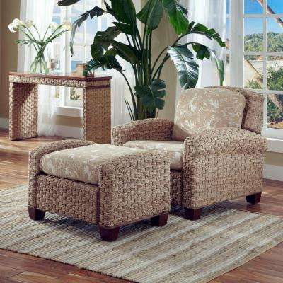 Cabana Banana II Beige and Brown Jacquard Cushioned Arm Chair with Ottoman