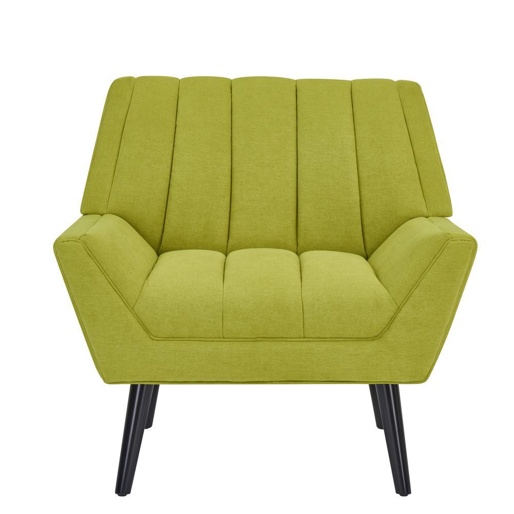 Rochelle Apple Green Plush Low-Pile Velvet Mid Century Modern Arm Chair