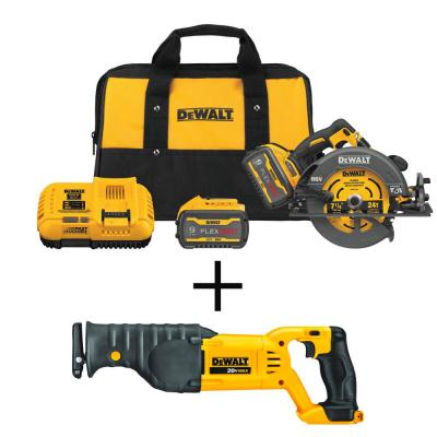 FLEXVOLT 60-Volt MAX Li-Ion 7-1/4 in. Cordless Brushless Circular Saw Kit with 20-Volt Reciprocating Saw (Tool-Only)