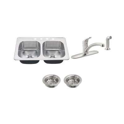 Colony All-in-One Drop-In Stainless Steel 33 in. 4-Hole 50/50 Double Bowl Kitchen Sink with Faucet in Stainless Steel