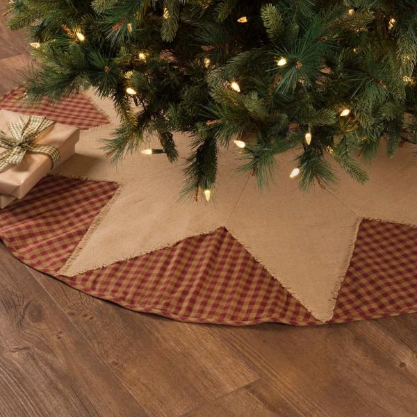 Vhc Brands 55 In Burgundy Check Red Primitive Christmas Decor Star Tree Skirt 42386 The Home Depot