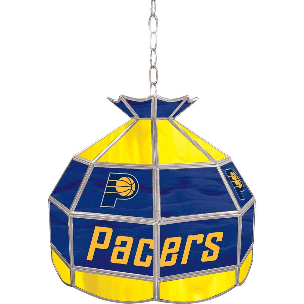 Trademark Indiana Pacers NBA 16 in. Nickel Hanging Tiffany Style Lamp