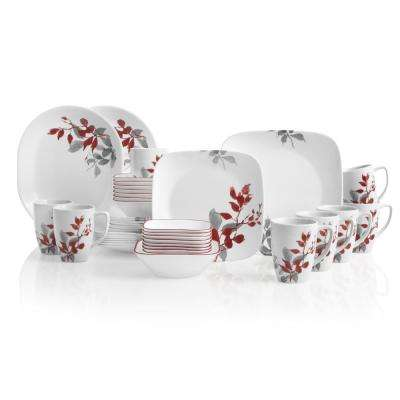 Boutique 42-Piece Kyoto Leaves Dinnerware Set