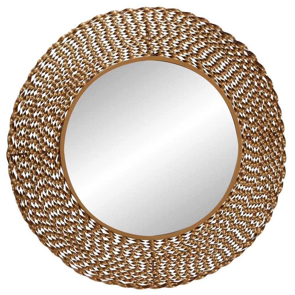 LITTON LANE Medium Round Gold Contemporary Mirror (35.0 in. H x 1.0 in. W)