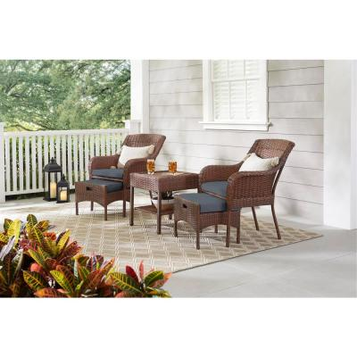 Cambridge 5-Piece Brown Wicker Outdoor Patio Conversation Seating Set with CushionGuard Steel Blue Cushions