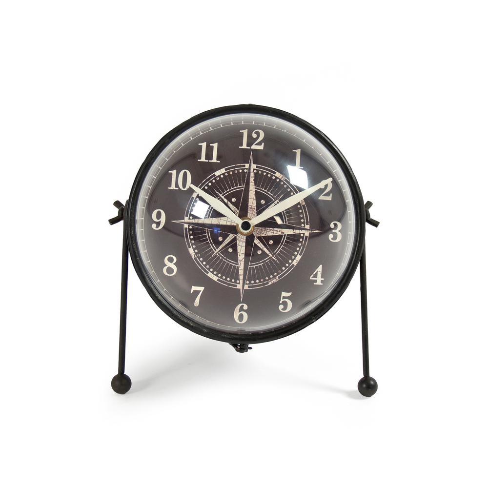 Rustic Nautical Decor Antique Style Compass Table Clock