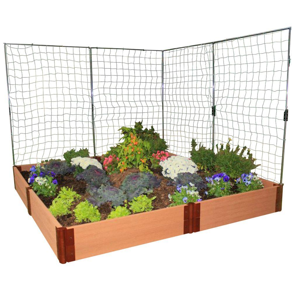 Frame It All One Inch Series 8 ft. x 8 ft. x 11 in. Composite Raised Garden Bed Kit with 2 Veggie Walls