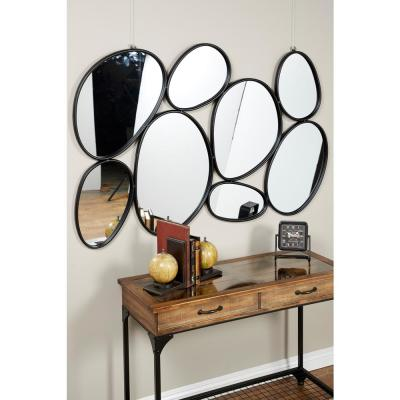 Medium Irregular Black Contemporary Mirror (35.0 in. H x 54.0 in. W)