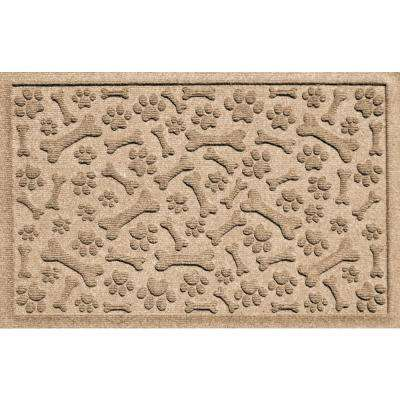 Khaki 24 in. x 36 in. Paws and Bones Polypropylene Pet Mat