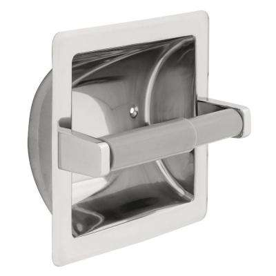 Recessed Toilet Paper Holder and Dispenser in Bright Stainless