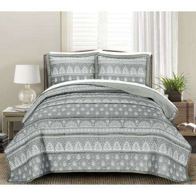 Rayna Grey 3-Piece Full/Queen Quilt Set