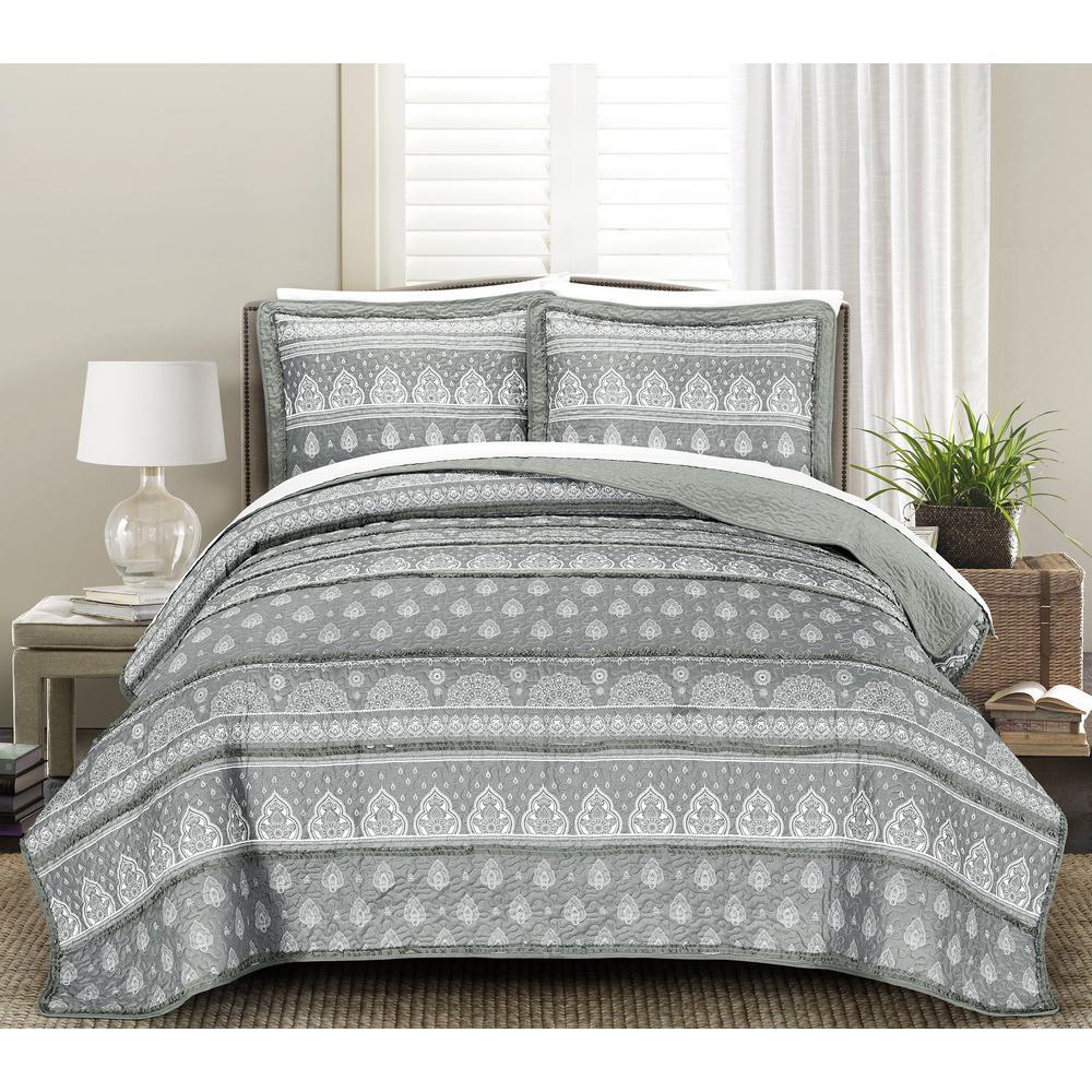 MHF Home Rikki Reversible Grey 3-piece Full/Queen Quilt Set