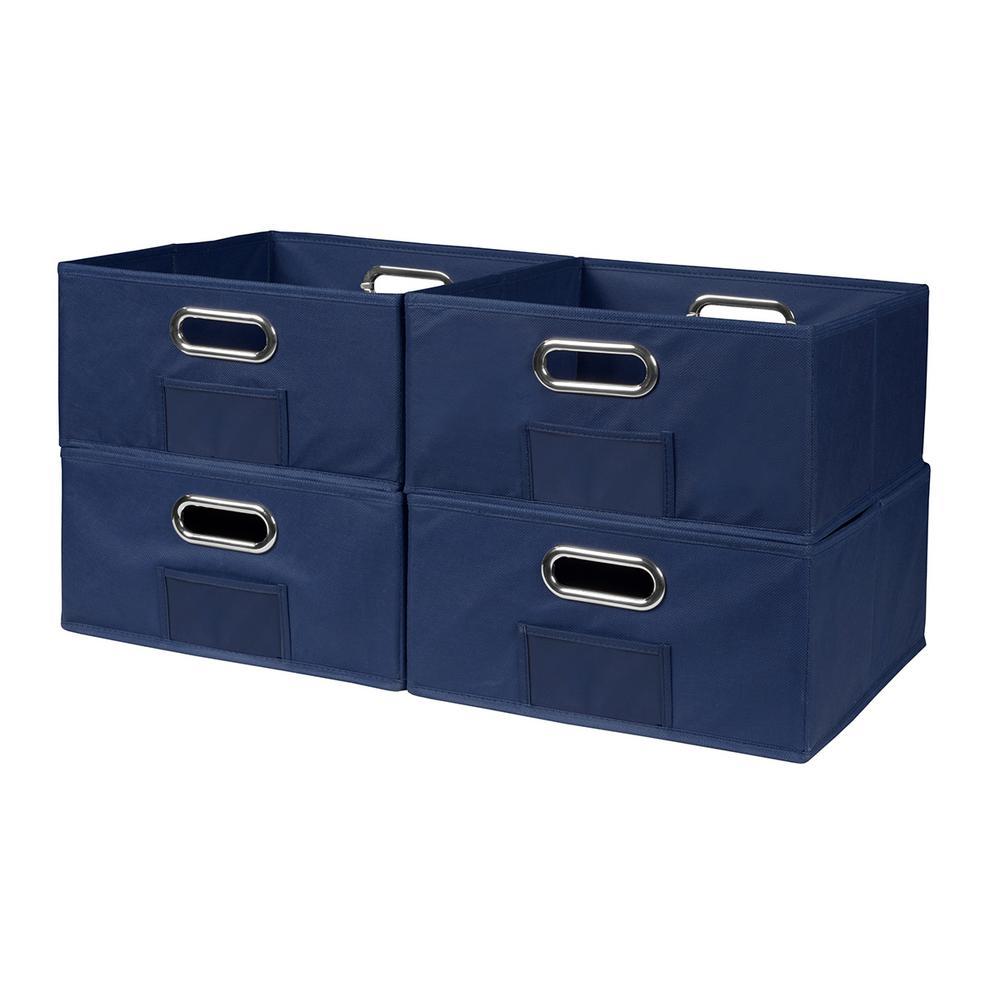 Cubo 12 in. x 6 in. Blue Folding Fabric Bin (4-Pack)