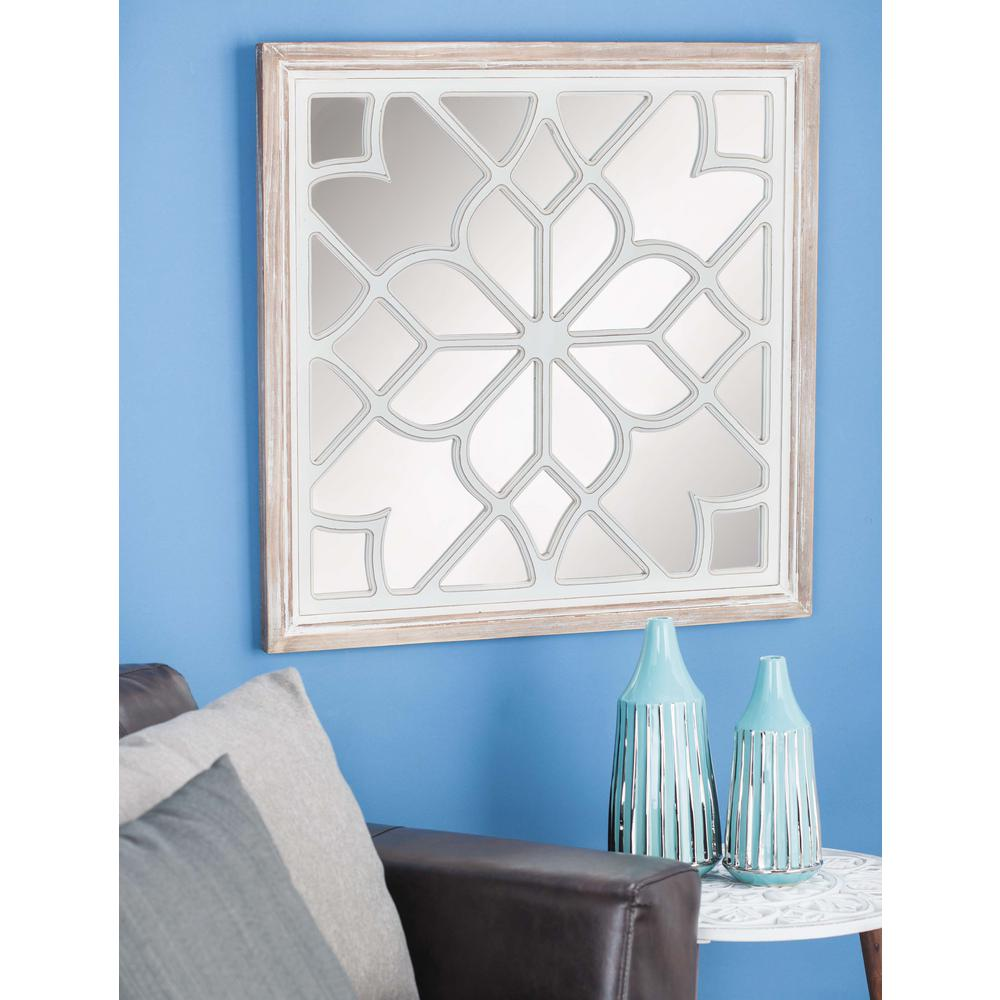 30 in. x 30 in. Modern Chevron-Patterned Framed Wall Mirror