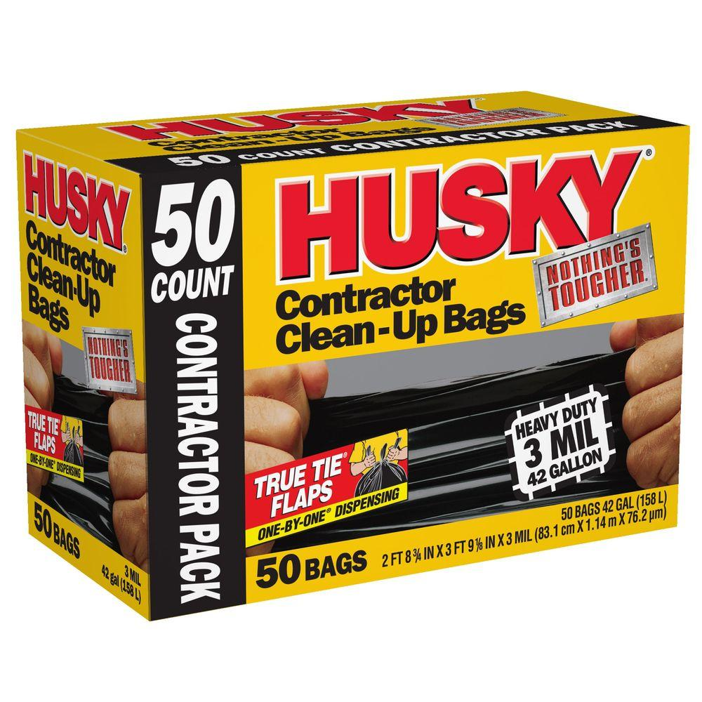 Husky 42 Gal Contractor Bags 50 Count Hk42wc050b The
