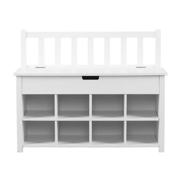 Southern Enterprises Solana White Shoe Storage Bench
