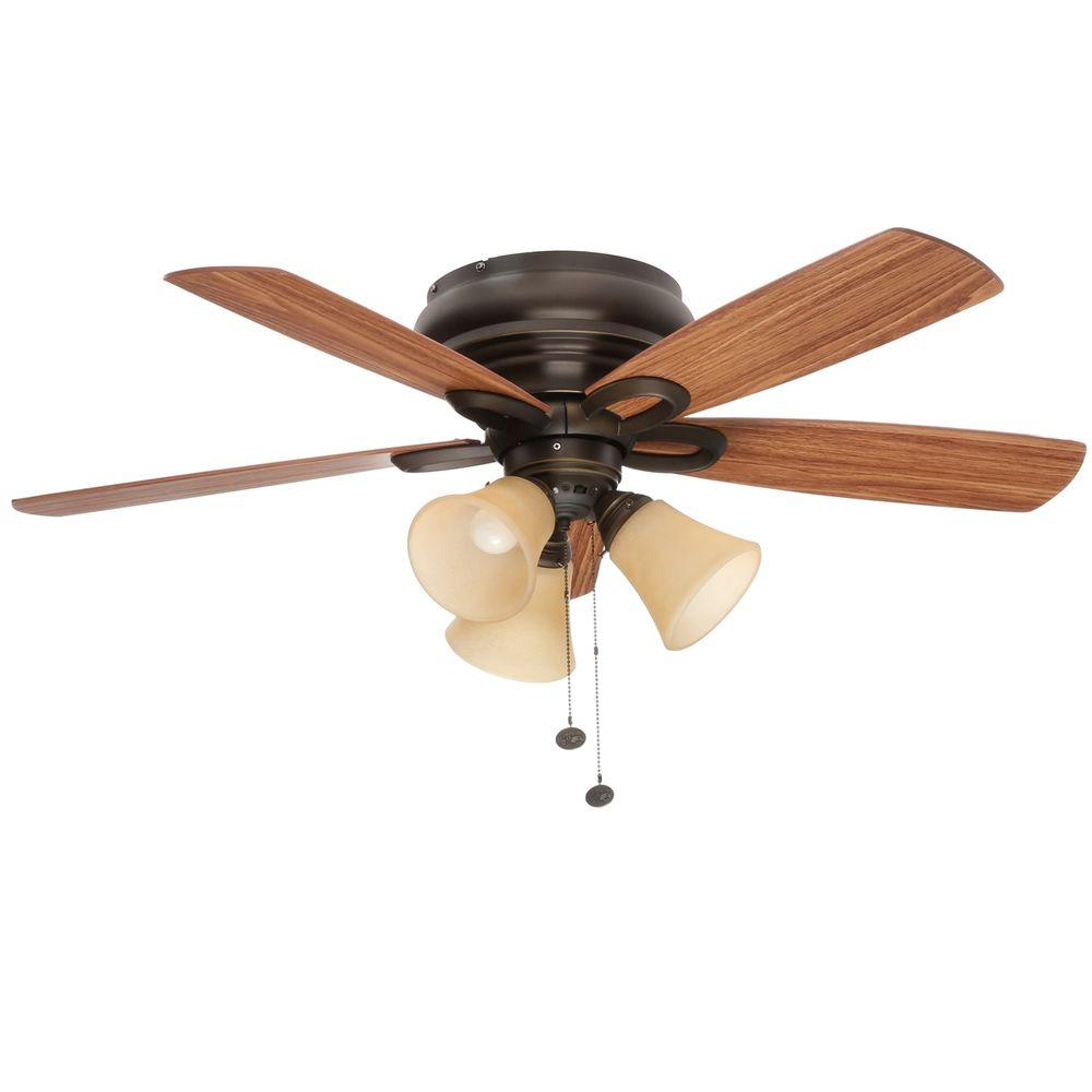 Hampton Bay Maris 44 In Indoor Oil Rubbed Bronze Ceiling Fan With Light Kit 26608 The Home Depot