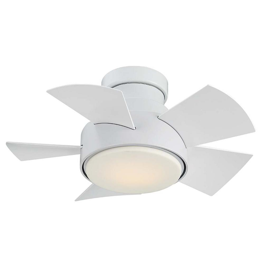 Modern Forms Vox 26 in. LED Indoor/Outdoor Matte White 5-Blade Smart Flush Mount Ceiling Fan with 3000K Light Kit and Wall Control