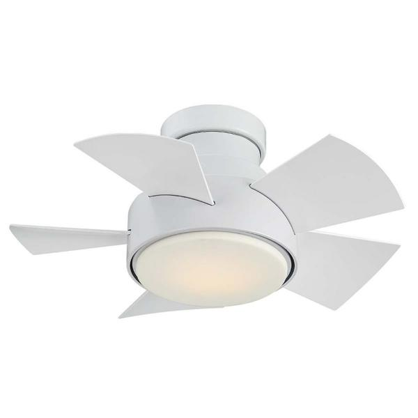 Vox 26 in. LED Indoor/Outdoor Matte White 5-Blade Smart Flush Mount Ceiling Fan with 3000K Light Kit and Wall Control