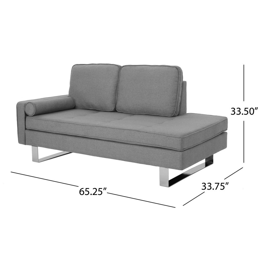 Swell Noble House Typhaine Modern Gray Fabric Chaise Loveseat Uwap Interior Chair Design Uwaporg