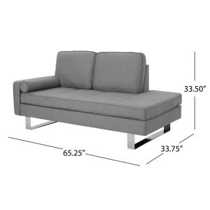 Noble House Typhaine Modern Gray Fabric Chaise Loveseat ...