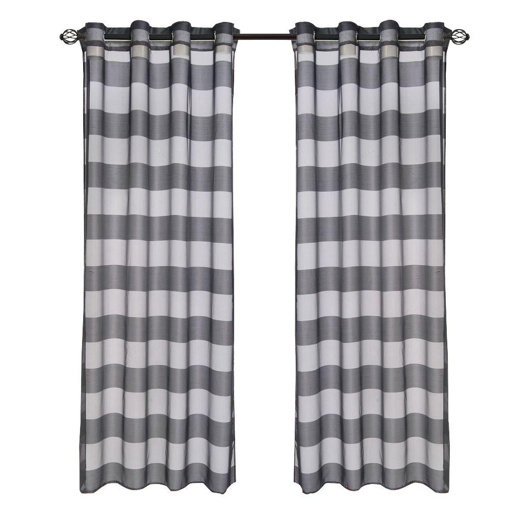 Lavish Home Black Sofia Grommet Curtain Panel 108 In Length