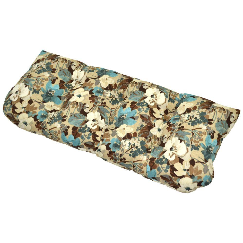 Hampton Bay Riviera Floral Tufted Outdoor Bench Cushion-DISCONTINUED