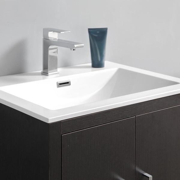 Fresca Imperia 24 In Modern Bathroom Vanity In Dark Gray Oak With Vanity Top In White With White Basin Fcb9424dgo I The Home Depot