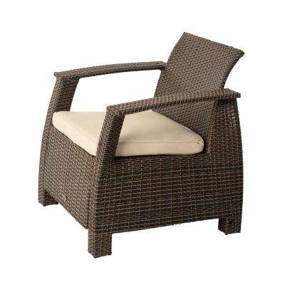 Deluxe Bondi Stationary Mocha Wicker Outdoor Lounge Chair with Taupe Cushion